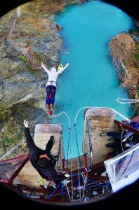 Holiday Park Manager bungee jumping at Kawarau Bridge