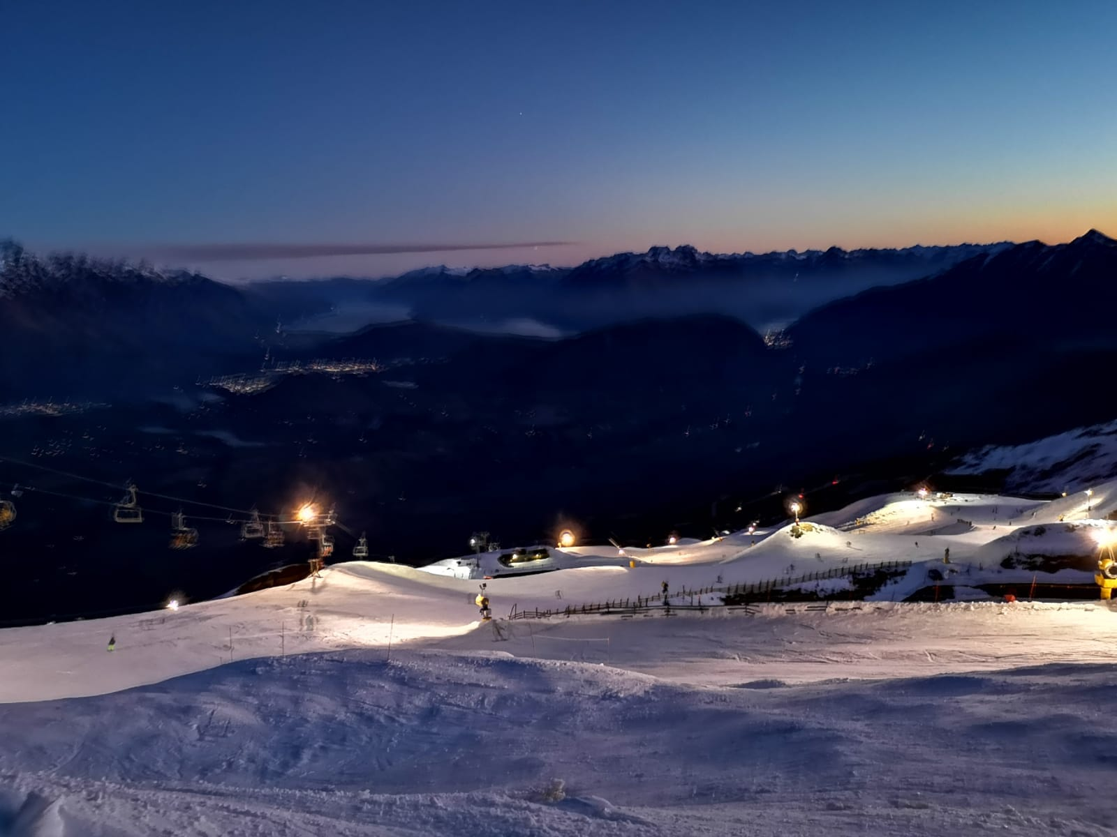 Floodlit ski slopes for night skiing at Coronet Peak