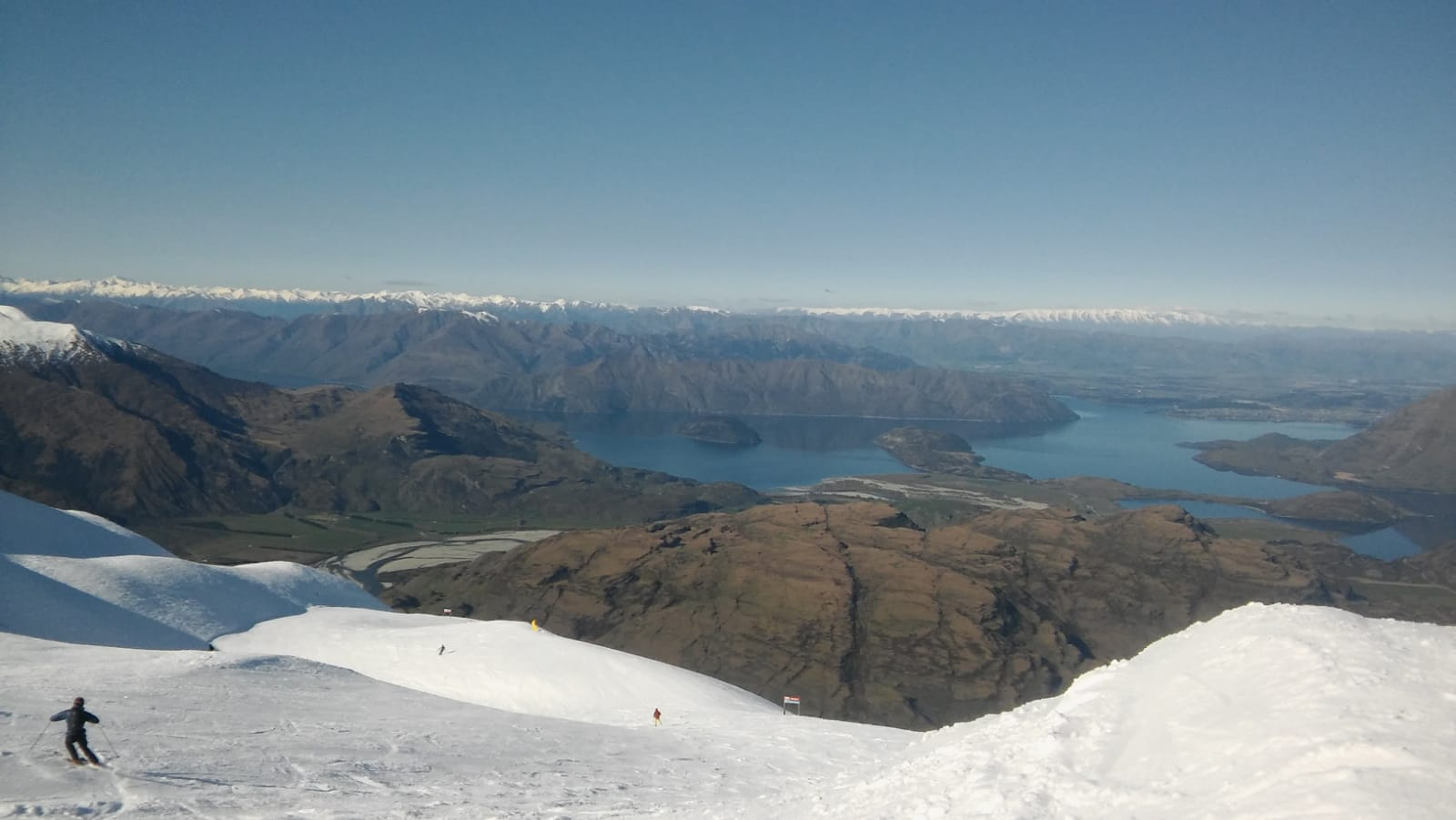 Ski slope at Treble Cone with view of Mt. Aspiring National Park