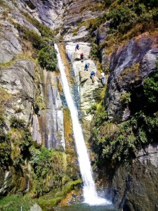 Climbing up the side of a waterfall with Wild Wire in Mt Aspiring National Park