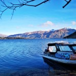 Paddle Wanaka jet boat moared on Stevenson's Peninsula in Wanaka